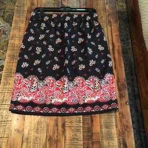 LOFT Like New! knee length Skirt, Black w/ Paisley